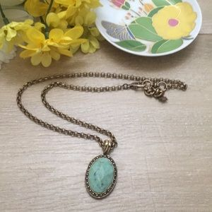 Gold Boho Lucky Brand Turquoise Necklace!